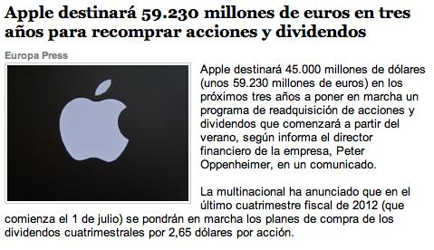 Apple ofrecerá dividendos