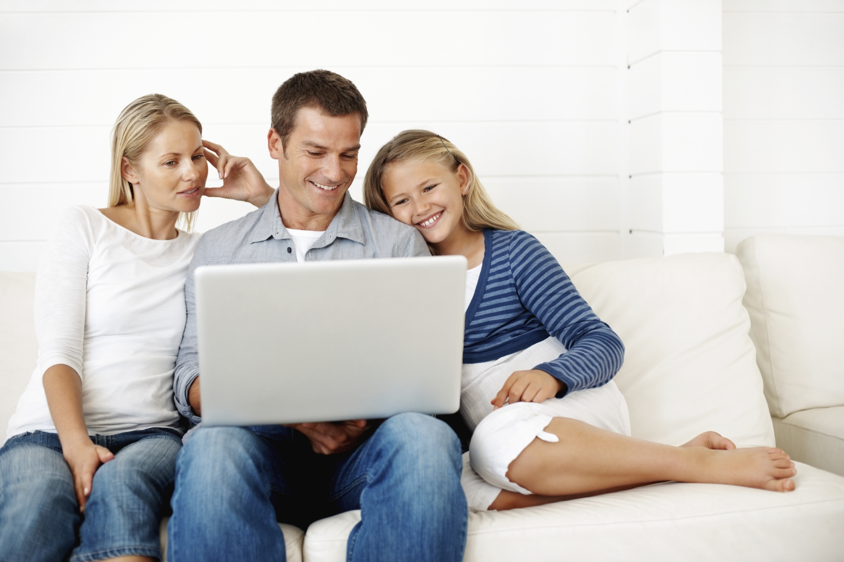 happy family at laptop