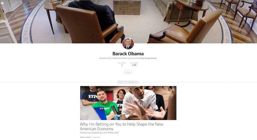 Barack Obama usa Medium