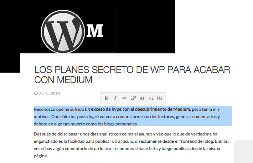 Medium en WordPress